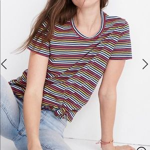 Madewell striped front knot tee shirt xs/sm